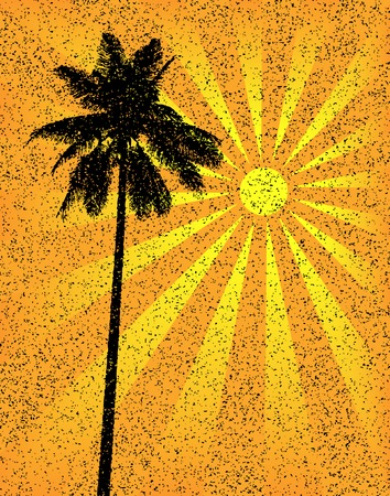 palmtree: Editable vector illustration of a tropical palm tree with grunge