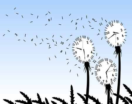 Abstract editable vector illustration of dandelion clockfaces blowing in the wind Illustration