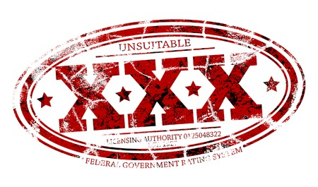 separate: Detailed editable vector rubber stamp of three Xs with three grunge layers as separate objects