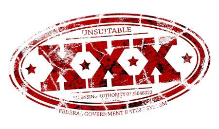 worn sign: Detallada editable vector sello de goma de tres Xs grunge con tres capas como objetos separados