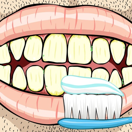 cleanliness: Editable vector illustration of a mouth and toothbrush on two separate layers