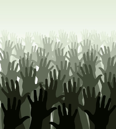 Editable vector illustration of a crowd of waving hands Stock Vector - 3789646