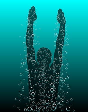 Editable vector illustratie van een duiker naar de oppervlakte Stock Illustratie