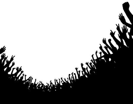 cheer: Editable vector illustration of a curved crowd silhouette with copy space