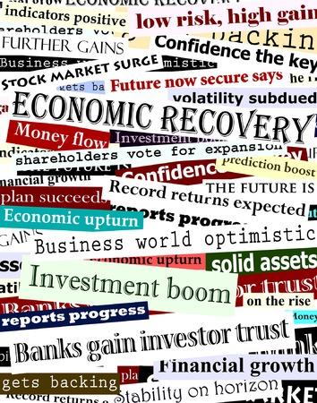 stock predictions: Contesto vettoriale modificabile progettazione di titoli dei giornali circa la ripresa economica