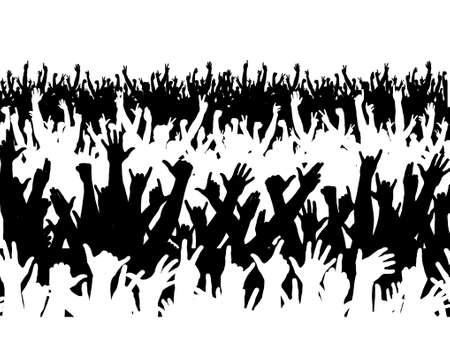 foules: Editable vector illustration d'une grande foule