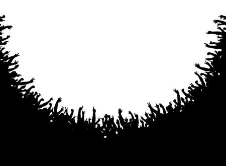cheering fans: Editable vector foreground illustration of a crowd silhouette Illustration