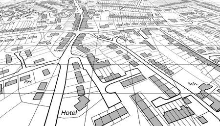 角度のついた: 一般的な町の編集可能なベクトル住宅地図の斜めビュー