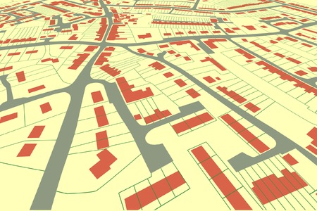 roadmap: Angled view of an editable vector housing map in a generic town