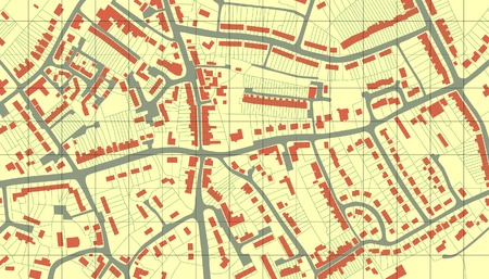 Editable vector illustrated map of housing in a generic town without names Vector