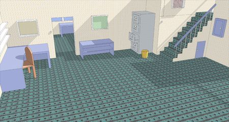 green carpet: Illustration of a basic office with green carpet