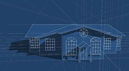 3d bungalow: Illustration of a generic house design in blue Stock Photo