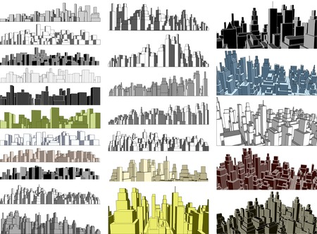 Set of editable vector simple 3-dimensional city skylines