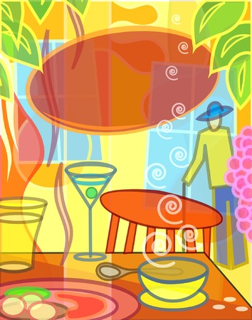 Colorful editable vector illustration of a cafe scene Stock Vector - 3937556