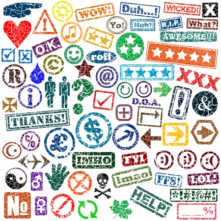 Set of editable vector rubber stamps of words and symbols