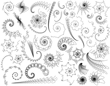 doddle: Set of editable vector scribbled swirls and twirls Illustration