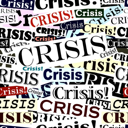 economy crisis: Editable vector seamless tile of crisis headlines