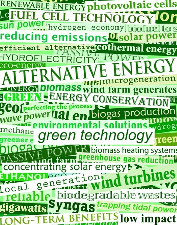 topical: Background editable vector illustration of green headlines about alternative energy Illustration