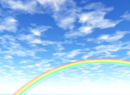 fine weather: Background illustration of a rainbow and summery clouds