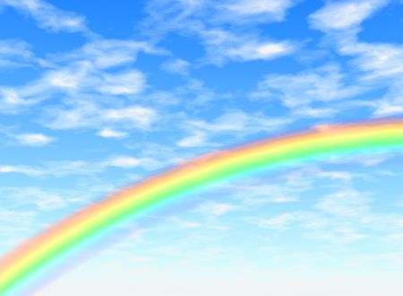 fine weather: Background illustration of a rainbow in a blue sky