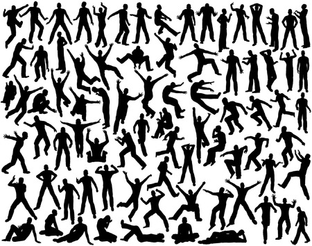 hopping: Set of editable vector outlines of men in various poses
