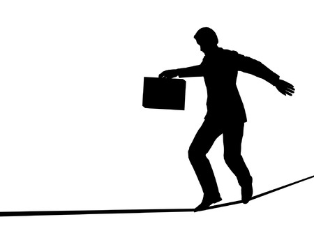 stability: Editable vector outline of a businessman walking a tightrope