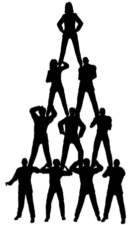 Editable vector silhouette of a business team pyramid with each figure as a separate object Vector
