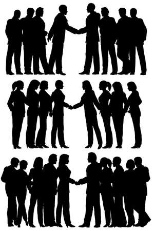 greet: Three sets of editable vector silhouettes of business groups meeting with each person as a separate element Illustration