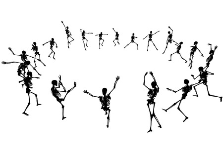 morbid: Editable vector skeleton silhouettes dancing in a ring with each skeleton as a separate object