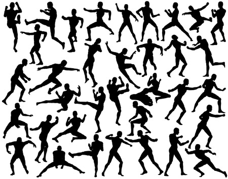 Set of editable vector silhouettes of fighting men Stock Vector - 4090128