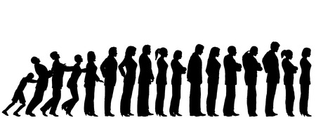 impatient: Queue of editable vector people silhouettes with boy pushing them like dominoes Illustration