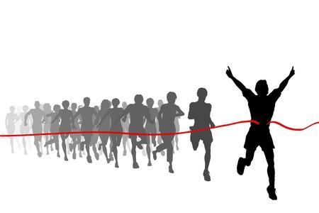 triunfador: Ilustraci�n vectorial editable del ganador de una carrera con todas las figuras como objetos separados Vectores