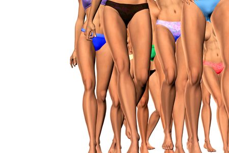 legs sexy: 3-d render of sexy legs in beachwear with path