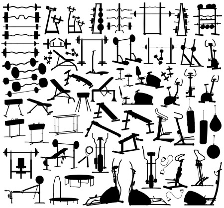 equipments: Collection of editable vector silhouettes of gym equipment