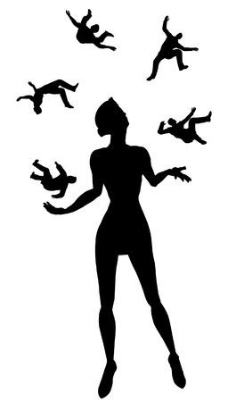 miniskirt: Editable vector silhouette of a sexy woman juggling five men
