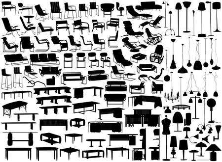 Collection of editable vector furniture and light fixture silhouettes