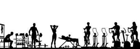 gimnasio: Editable vector primer plano de un gimnasio en escena silueta con todos los elementos como objetos separados