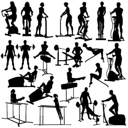 gym equipment: Set di sagome di persone che esercitano in palestra con tutti i dati e le attrezzature come oggetti separati Vettoriali