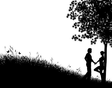 tree in field: Editable vector silhouette of a young couple in a field with people, tree and grass as separate elements Illustration