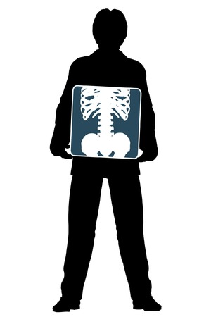 man holding transparent: Editable vector silhouette of a man holding an x-ray of his abdomen