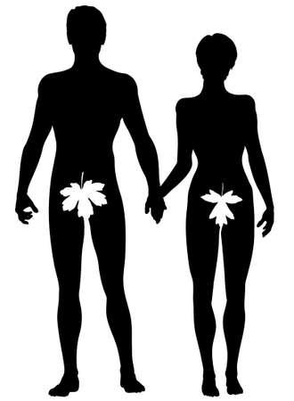 feuille de vigne: Editable vecteur silhouette d'Adam et Eve