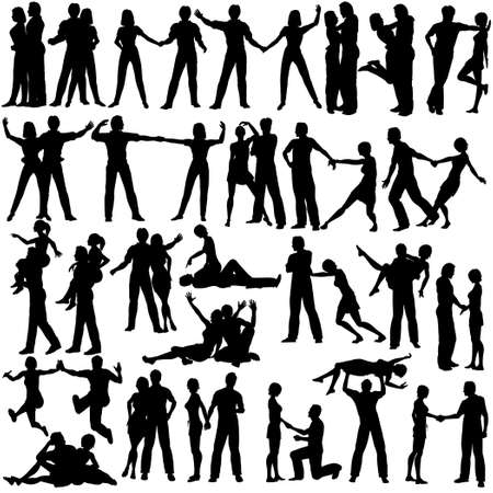 Set of editable vector silhouettes of man and woman couples with every figure as a separate object