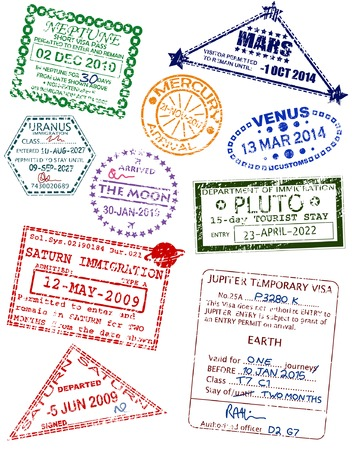 interplanetary: Set of editable vector visas from different planets