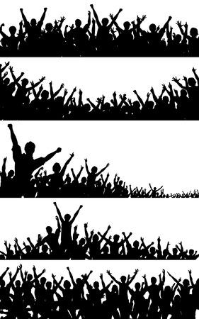 foules: Ensemble de silhouettes de foule vectoriel modifiable avec chaque personne comme un objet distinct