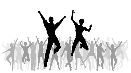 Editable vector illustration of people jumping in celebration with every person as a separate object