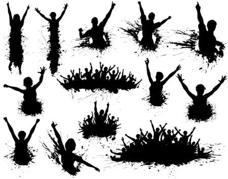 Set of editable vector illustrations of people celebrating with ink splatter grunge and all figures as separate elements