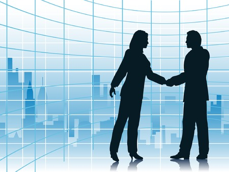 towerblock: Editable vector illustration of business people shaking hands with a city background
