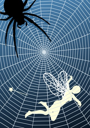 spiders web: Editable vector illustration of a fairy caught in a spiders web