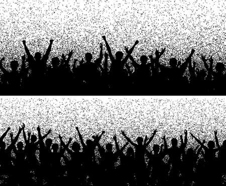 Two editable vector crowd silhouettes with grainy grunge Vector