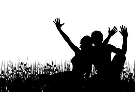 Editable vector silhouette of a couple sitting in a meadow with people as separate elements